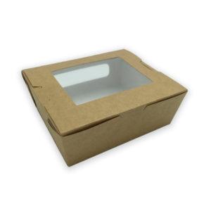 Sushi box kraft con ventana - 105 x 90 x 45 mm
