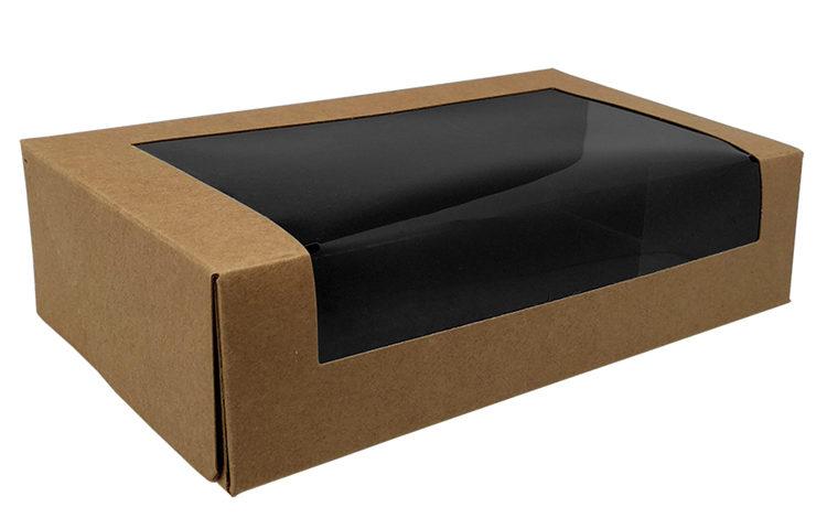Sushi box kraft con ventana – interior negro